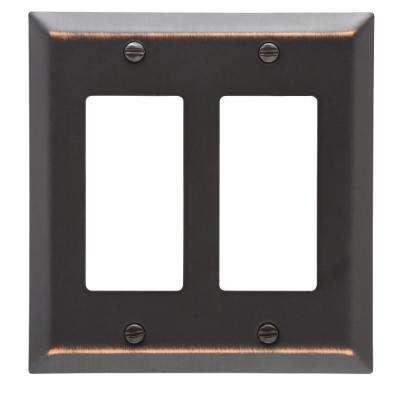 Metallic 2 Gang Rocker Steel Wall Plate - Aged Bronze