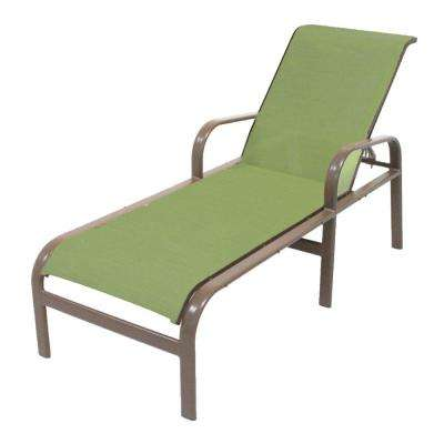 Marco Island Brownstone Commercial Grade Aluminum Patio Chaise Lounge with Dupione Kiwi Sling