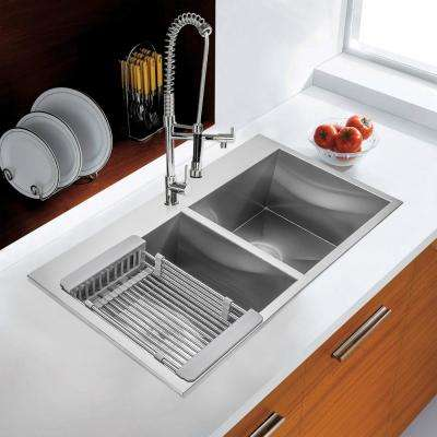 Handmade Drop-in Stainless Steel 33 in. x 22 in. 50/50 Double Bowl Kitchen Sink with Drying Rack