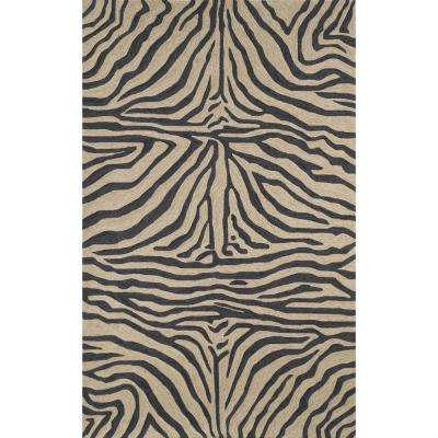 Sinclair African Stripes Black 3 ft. 6 in. x 5 ft. 6 in. Rectangle Indoor/Outdoor Accent Rug