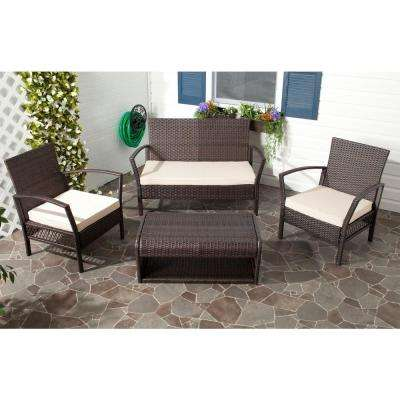 Avaron Brown Rattan 4-Piece Waterproof Terylene Patio Seating Set with Beige Cushions