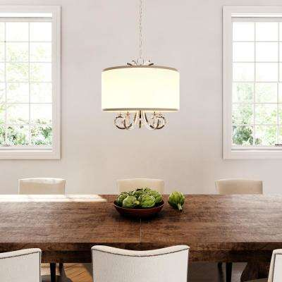 5-Light Polished Nickel Chandelier with White Linen Drum Shade and Dangling Glass Beads