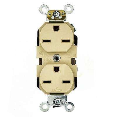 15 Amp Industrial Grade Heavy Duty Self Grounding Duplex Outlet, Ivory