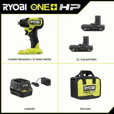 ONE+ HP 18V Brushless Cordless Compact 1/4 in. Impact Driver Kit with (2) 1.5 Ah Batteries, Charger and Bag