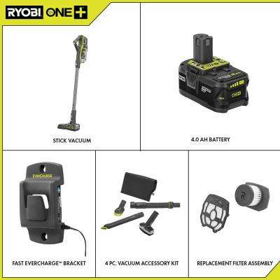 18-Volt ONE+ Cordless Stick Vacuum Cleaner Kit with 4 Ah Battery, Charger, 4-Piece Accessory Kit, and Replacement Filter
