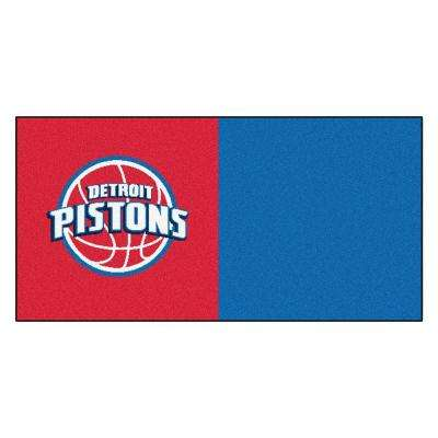 NBA - Detroit Pistons Red and Blue Pattern 18 in. x 18 in. Carpet Tile (20 Tiles/Case)