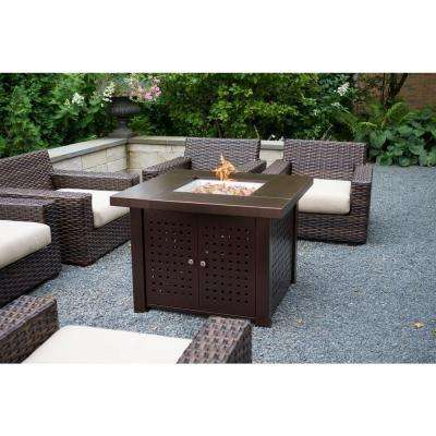 Eden 38 in. x 29 in. Square Perforated Steel Propane Gas Fire Pit Table in Hammered Bronze