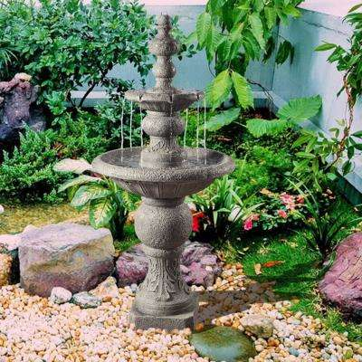 Outdoor Icy Stone 2-Tier Waterfall Fountain