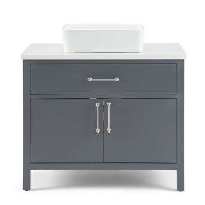 Patton 36 in. Bath Vanity in Charcoal Grey with Engineered Marble Extra Thick Vanity Top in White with White Basin