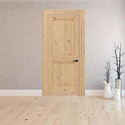 2-Panel Round Top Plank Unfinished Knotty Pine Single Prehung Interior Door