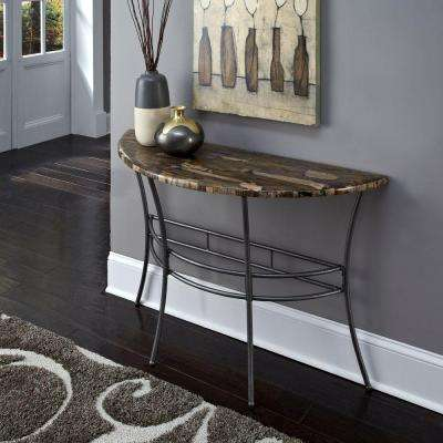 Turn to Stone Petrified Wood and Gray Metal Console Table