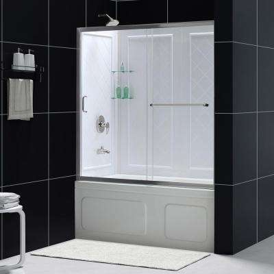 Infinity-Z 60 in. x 60 in. Framed Sliding Tub/Shower Door in Chrome and Backwall with Glass Shelves