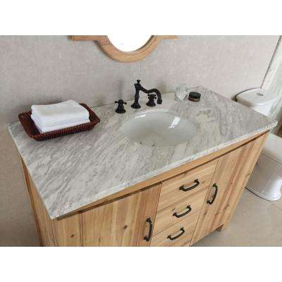 Vista 48 in. W x 22 in. D x 36 in. H Single Vanity in Natural with Marble Vanity Top in Jazz White with White Basin