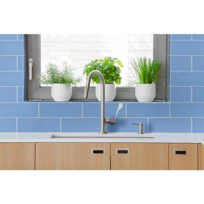 Royal Azure 4 in. x 12 in. x 8mm Glass Wall Tile (5 sq. ft./case)