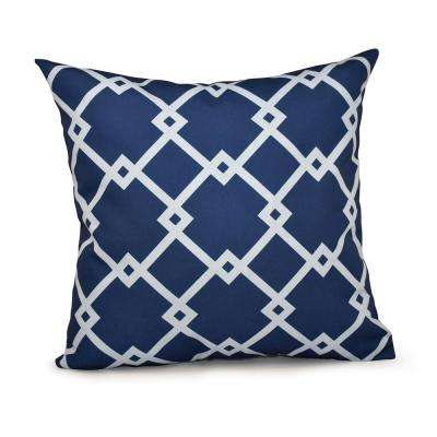 16 in. x 16 in. Chain Link Geometric Pillow in Navy Blue