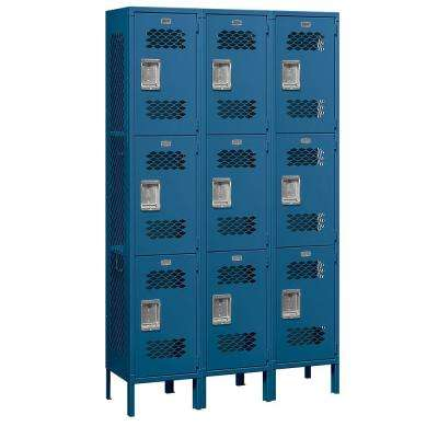 83000 Series 45 in. W x 78 in. H x 15 in. D 3-Tier Extra Wide Vented Metal Locker Unassembled in Blue