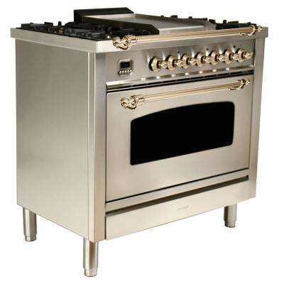 36 in. 3.55 cu. ft. Single Oven Italian Gas Range True Convection,5 Burners, LP Gas, Bronze Trim/Stainless Steel