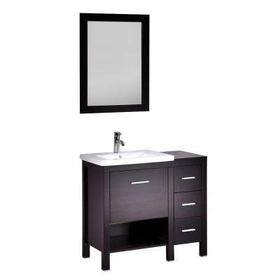 Barial 36 in. Vanity in Espresso with Ceramic Vanity Top in White and Mirror