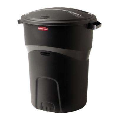 Roughneck 32 Gal. Black Round Trash Can with Lid (2-Pack)
