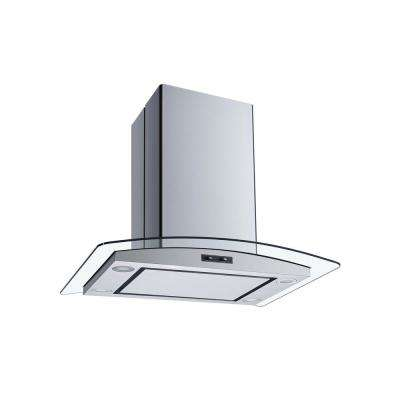 30 in. Convertible Island Mount Range Hood in Stainless Steel and Glass with Mesh Filter and Stainless Steel Panel