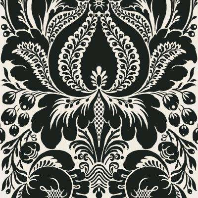 56 sq. ft. Black And Platinum Large Scale Damask Wallpaper