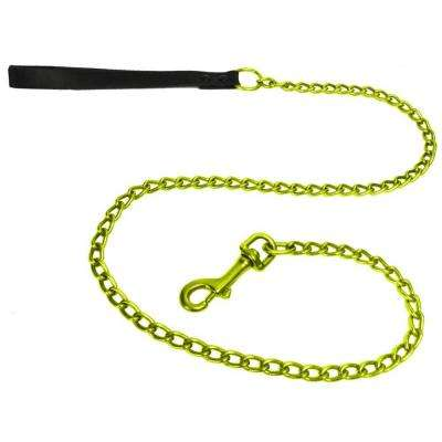 2.5 mm No-Bite Coated Steel Dog Leash with Black Leather Handle in Lime