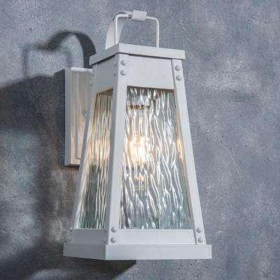 Coastal Carmel 1-Light White Outdoor Wall Mount Lantern
