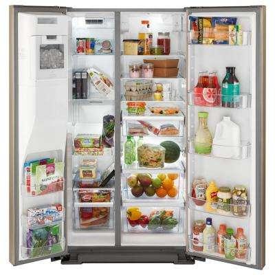 21 cu. ft. Side by Side Refrigerator in Fingerprint Resistant Sunset Bronze, Counter Depth