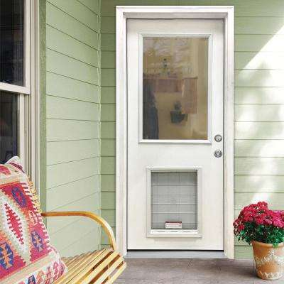 32 in. x 80 in. Classic Clear Half Lite LHIS White Primed Fiberglass Prehung Front Door with SL Pet Door