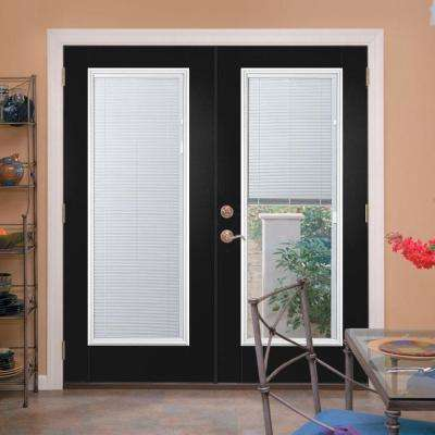 Ultra Prehung Mini Blind Steel Patio Door with No Brickmold in Vinyl Frame
