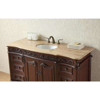 Princeton 56 in. Vanity in Dark Cherry with Marble Vanity Top in Travertine with White Under-Mount Sink