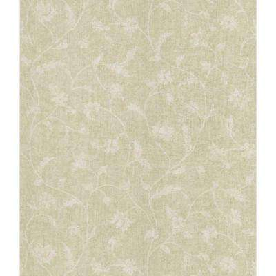 Taupe Batik Floral Trail Wallpaper Sample