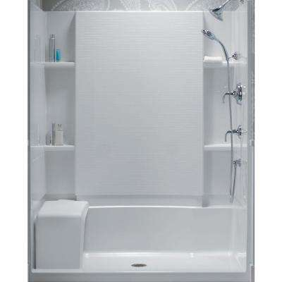 Accord 36 in. x 60 in. x 55-1/8 in. Bath/Shower Wall Set in White