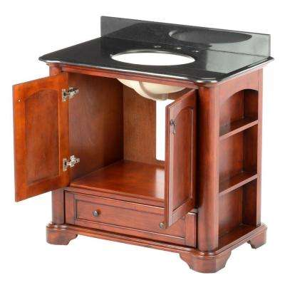Vermont 36 in. Vanity in Mahogany with Granite Vanity Top in Black and Sink