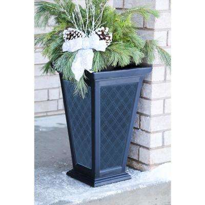 Tall 15 in. x 24 in. Black Plastic Casablanca Planter (2-Pack)