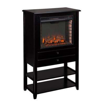 Hanover 32.25 in. W Corner Convertible Electric Fireplace Storage Tower in Black
