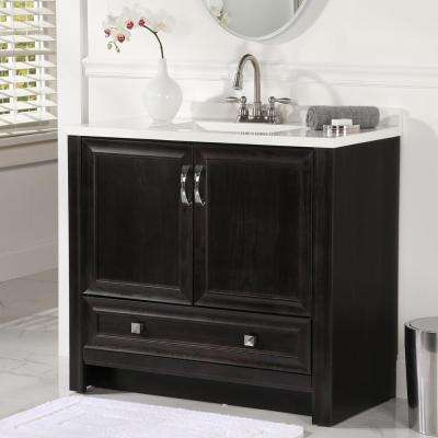 Candlesby 37 in. W x 19 in. D Bathroom Vanity in Charcoal with Cultured Marble Vanity Vanity Top in White