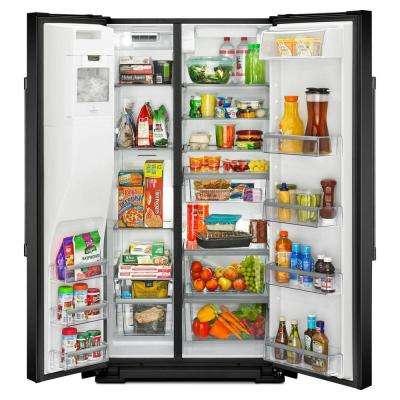 36 in. W 26 cu. ft. Side by Side Refrigerator in Black