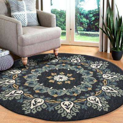 Dazzle Charcoal / Teal 6 ft. x 6 ft. Pine Cone Indoor Round Area Rug