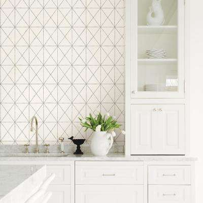 Intersection White Geometric Wallpaper