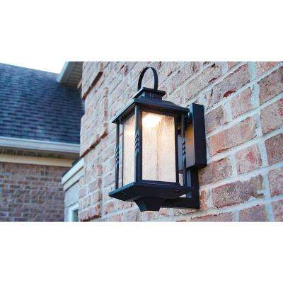 Portable Black Outdoor Integrated LED Wall Lantern Sconce