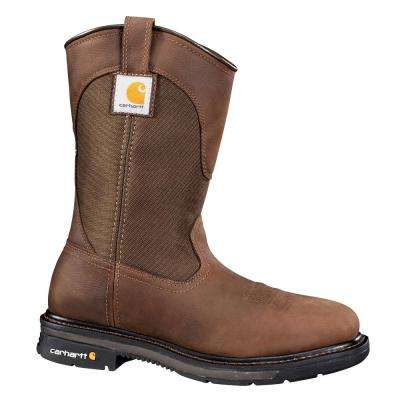 Rugged Flex Square Toe Men's Bison Brown Leather/Fabric NWP Soft Toe Work Boot