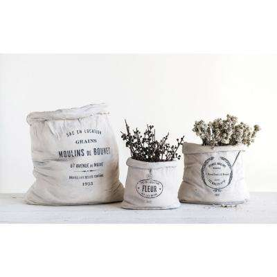 7 in. H Off-White Canvas-Feed Sack-Shaped Terracotta Planter