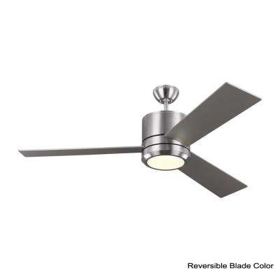 Vision Max 56 in. LED Indoor/Outdoor Brushed Steel Ceiling Fan with Light Kit