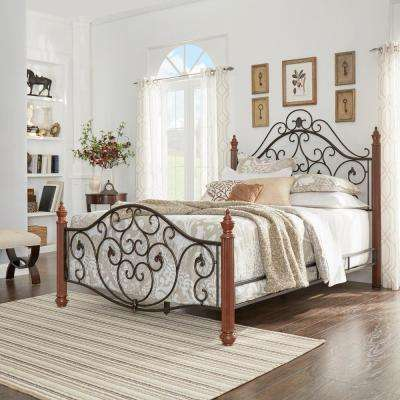 Black & Brown Queen Bed Frame