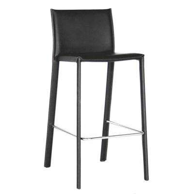 Baxton Studio Crawford Black Faux Leather Upholstered 2-Piece Bar Stool Set