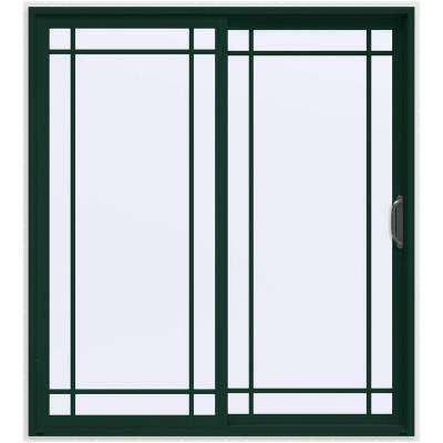 72 in. x 80 in. V-4500 Hartford Green Prehung Right-Hand Sliding 9 Lite Vinyl Patio Door with White Interior