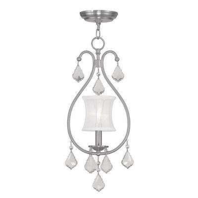1-Light Brushed Nickel Chandelier with Off White Silk Shimmer Shade