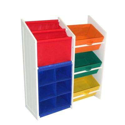 30 in. x 34 in. Primary Folding 3-Super Storage Bins with 6 Small Cubbies Cabinet in Multi-Color