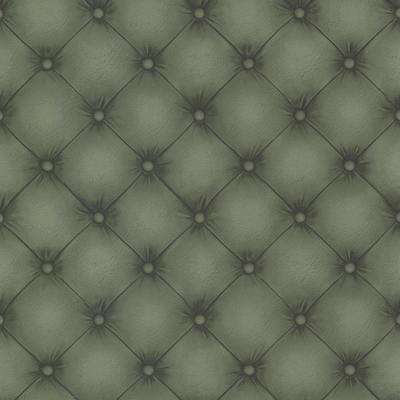 56.4 sq. ft. Chesterfield Dark Green Tufted Leather Wallpaper